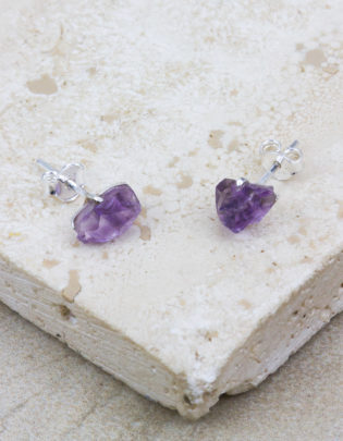 Raw Beauty | Amethyst Sterling Silver Posts