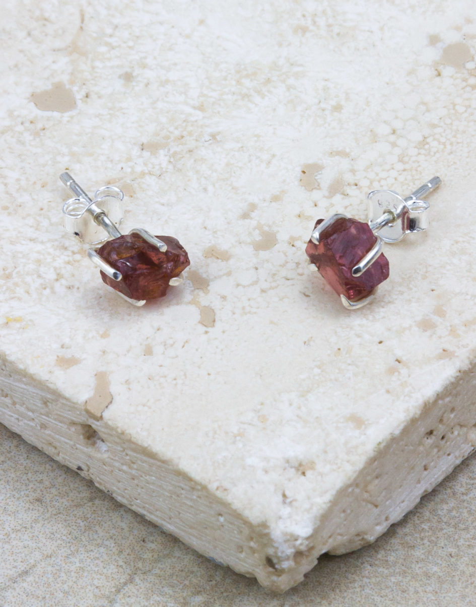 Raw Beauty | Garnet Sterling Silver Posts