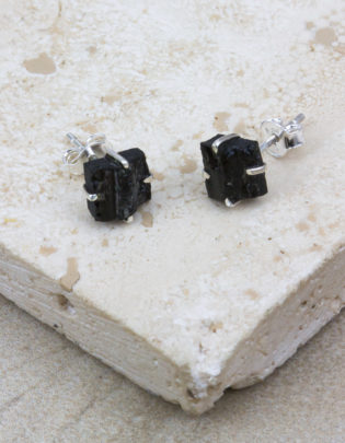 Raw Beauty | Black Tourmaline Sterling Silver Posts