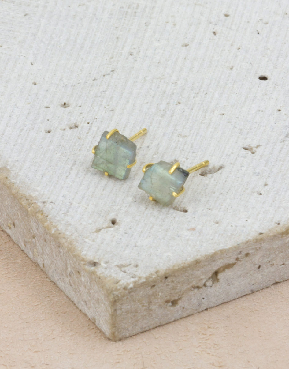 Raw Beauty | Labradorite Gold Posts