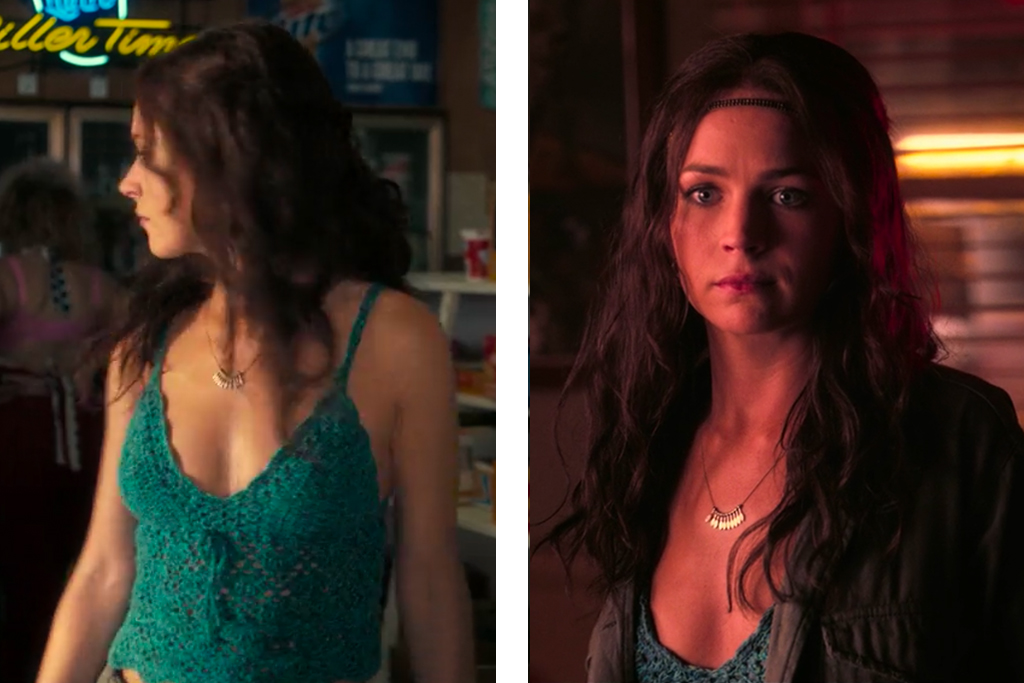 Sophia's character seen wearing She Brings the Rain Necklace