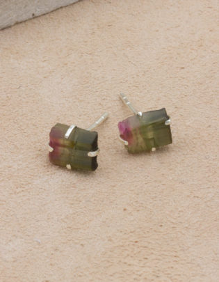 Raw Beauty | Watermelon Tourmaline Sterling Silver Posts