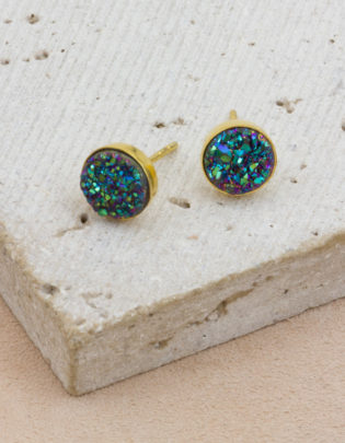 Rainbow Druzy Post Earrings