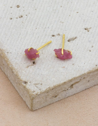 Raw Beauty | Rubellite Tourmaline Gold Posts